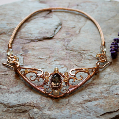 Celtic Queen Necklace - Bronze with Smokey Quartz, Citrine and Pearls