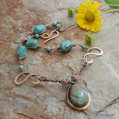 Mermaids Tear Drop Necklace - Bronze and Turquoise