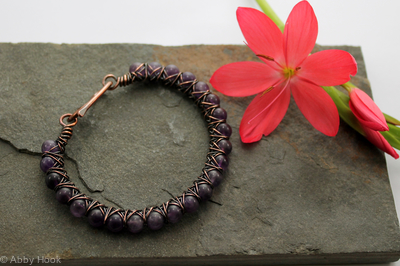 Kiss Kross Bracelet - Copper and Amethyst