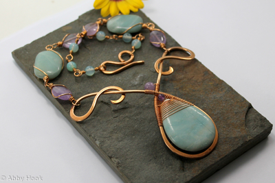 Mermaids Tear Drop Necklace - Bronze with Amazonite, Amethyst and Blue Calcedony
