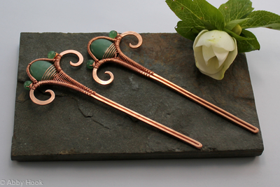 Hair Sticks - Copper and Aventurine - reserved for Agneta