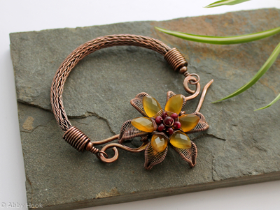 Yellow Lilly Bracelet - Copper with Yellow Chalcedony and Ox Blood Rubies