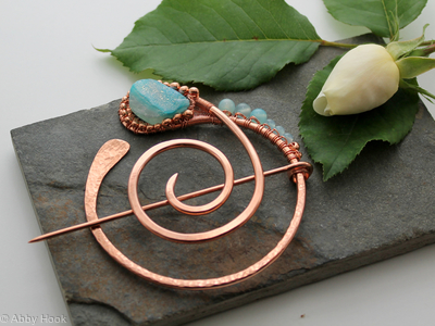 Paisley Penannular Brooch - Large - Copper, Blue Chalcedony and Blue Druzy Agate