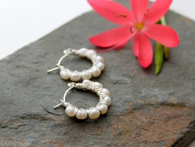 Kiss Kross Hoop Earrings - Pearl and Sterling silver