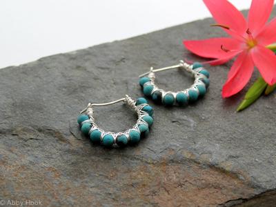 Kiss Kross Hoop Earrings - Turquoise and Sterling silver