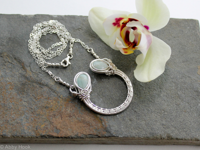 Ornate Horseshoe Necklace - Sterling silver and Amazonite