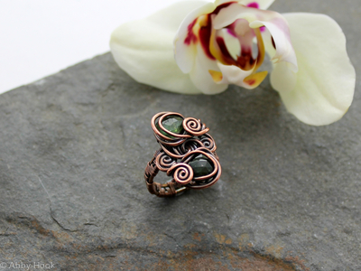 Double Stone Ring - Woven Copper wire with Faceted Green Tourmaline