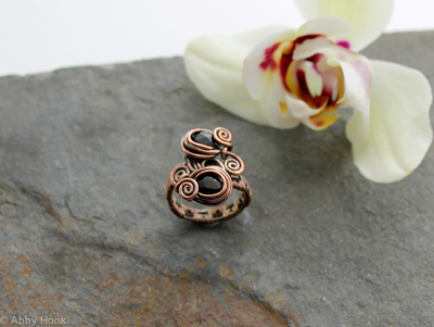 Double Stone Ring - Woven Copper wire with Faceted Amber Tourmaline