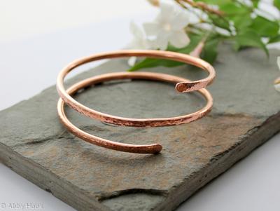 Double wrap Copper Bangle, Bracelet, Cuff