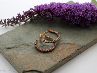 Viking knit Hoop earrings - Antiqued Bronze wire hoop earrings