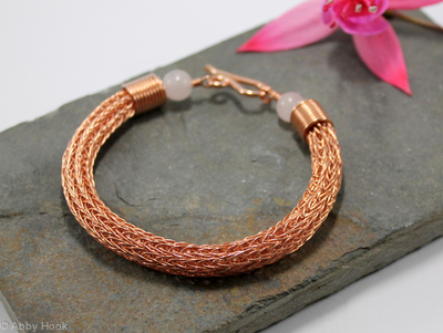 Viking knit bracelet - Double knit Copper wire and Rose Quartz