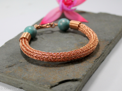 Viking knit bracelet - Double knit Copper wire and Turquoise