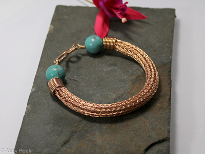 Viking knit bracelet - Double knit Bronze wire and Turquoise