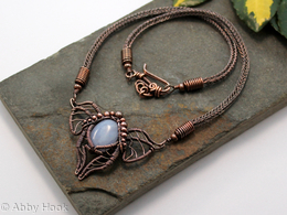 Titania - Fairy wing necklace - Blue Lace Agate with woven copper wire and Viking knit chain