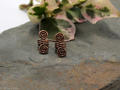 Double Spiral Beard, Dreadlock or braid ring or bead - Antiqued Copper - small - 1 pair
