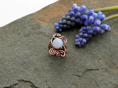 Blue Lace Agate,Woven Spiral Beard, Dreadlock or braid ring or bead - Antiqued Copper - Large