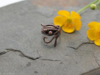 Eye of Horus Beard, Dreadlock or braid ring or bead - Antiqued Copper - Large