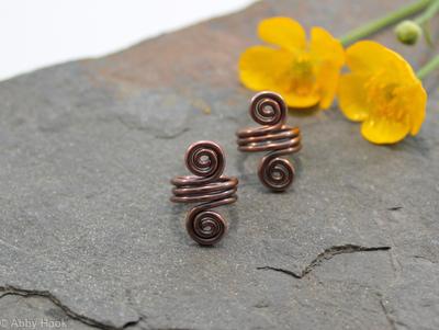 Double Spiral Beard, Dreadlock or braid ring or bead - Antiqued Copper - Medium - 1 pair