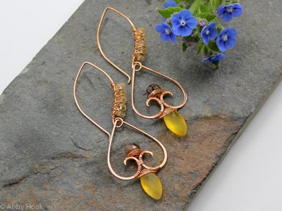 Gateway to my Heart earrings - Yellow Chalcedony, Tourmaline and Citrine with Bronze wire wrapped earrings