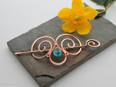 Embellished Double Spiral Hair Barrette - Copper and Turquoise - Hair clip - small