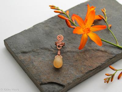 Spiral with Honey Jade dangle Beard, Dreadlock or braid ring or bead - Shiny Copper - Medium