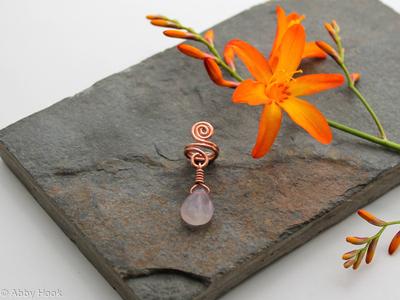 Spiral with Fluorite dangle Beard, Dreadlock or braid ring or bead - Shiny Copper - Medium