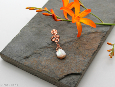 Spiral with Mother of Pearl dangle Beard, Dreadlock or braid ring or bead - Shiny Copper - Medium