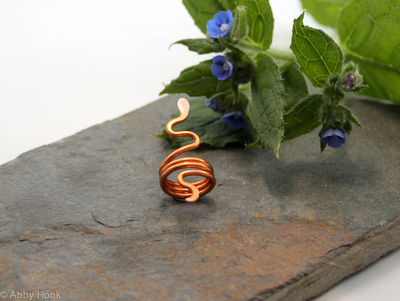 Snake Beard, Dreadlock or braid ring or bead - Copper - Large