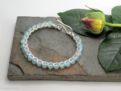 Kiss Kross Bracelet -  Sterling silver and Chalcedony - wire wrapped bracelet
