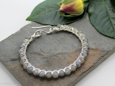 Kiss Kross Bracelet -  Sterling silver and Labradorite - wire wrapped bracelet