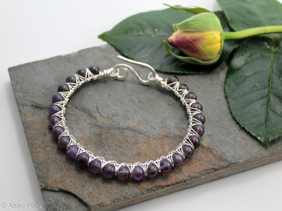 Kiss Kross Bracelet -  Sterling silver and Amethyst - wire wrapped bracelet