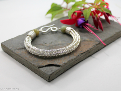 Viking knit bracelet - Double knit Sterling silver wire and Jade