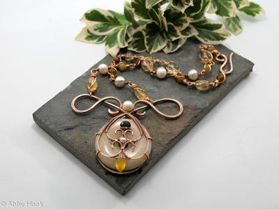 Mermaids Tear Drop Necklace - Bronze with Honey Jade, Tourmaline, Yellow Chalcedony, Citrine, Garnet and Pearls