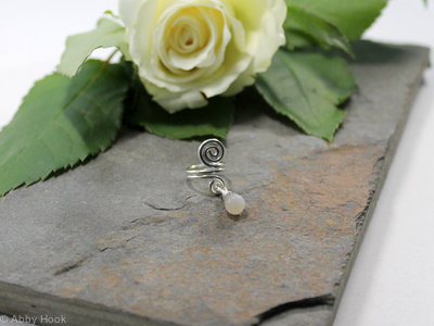 Spiral with White Moonstone dangle Beard, Dreadlock or braid ring or bead - Shiny Sterling silver - Medium
