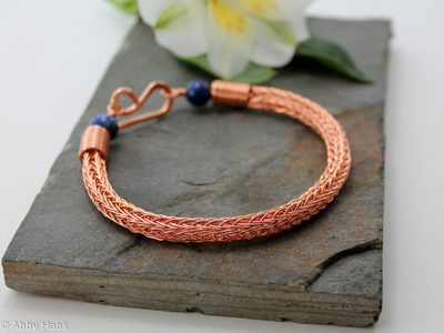 Viking knit bracelet - Double knit Copper wire and Lapis Lazuli