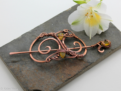 Hair Barrette in copper with faceted yellow chalcedony - Quintessence - Hair clip or shawl pin