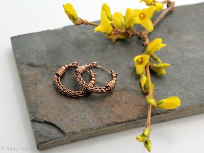 Viking knit Hoop earrings - Copper with beads wire hoop earrings - small