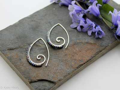 Embellished Ammonite open pointed spiral tribal earrings - 1mm sterling silver and Titanium coated Spinal
