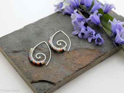 Embellished Ammonite open pointed spiral tribal earrings - 1mm sterling silver and faceted Multi stone