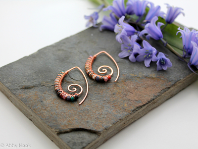 Embellished Ammonite open pointed spiral tribal earrings - 1mm copper and faceted Multi stone