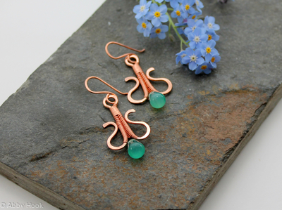 Simply Elegant wire woven earrings - copper and green Agate wire wrapped dangle earrings