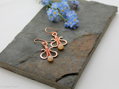 Simply Elegant wire woven earrings - copper and peach Moonstone wire wrapped dangle earrings