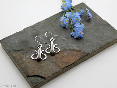Simply Elegant wire woven earrings - sterling and fine silver with Tourmaline wire wrapped dangle earrings