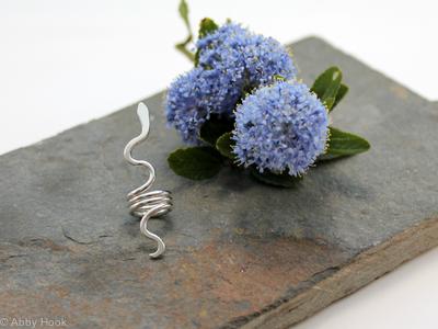 Snake Beard, Dreadlock or braid ring or bead - Sterling Silver - Medium