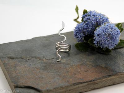 Snake Beard, Dreadlock or braid ring or bead - Sterling Silver - Large