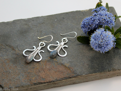 Simply Elegant wire woven earrings - sterling and fine silver with Labradorite wire wrapped dangle earrings