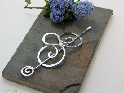 Double Spiral Hair Barrette - Textured Sterling Silver - Hair clip