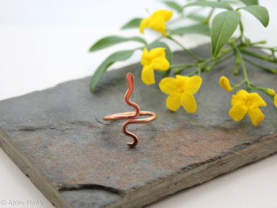 Snake adjustable ring - Copper - size 8 to 10 (UK Q to T1/2)