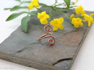 Single Wrap Double Spiral copper Adjustable ring size 5 to 7 (UK J1/2 to O)