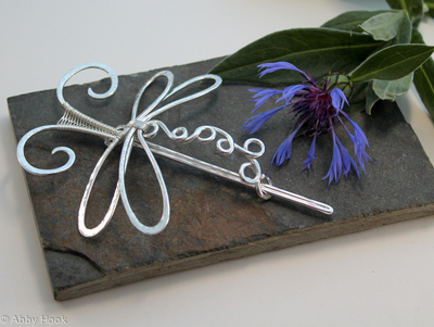 Styled Dragonfly Hair Barrette Or Scarf Pin - Medium - Textured Shiny Sterling silver - Hair Clip